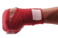 Bandage rouge de boxe Photographie stock