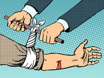 Bandage to stop the bleeding after being wounded. Pop art retro style. Manual rescue hand blood vector illustration