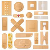 Bandage vector band plaster and medical protection patch for first aid illustration set of sticky bandaids isolated on. White background Royalty Free Stock Images