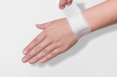 Bandage on the wrist Royalty Free Stock Photos