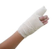 Bandaged broken finger Stock Image