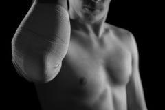 Bandaged elbow joint Stock Photos
