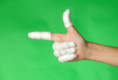 Bandaged fingers Stock Photo