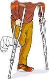 An with bandaged foot walking on crutches Royalty Free Stock Images