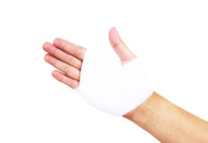 Bandaged hand isolated , with clipping path Royalty Free Stock Photo