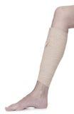 Bandaged leg with elastic bandage Royalty Free Stock Photo