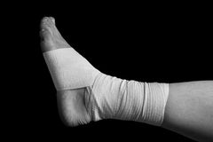 Bandaged leg Royalty Free Stock Image