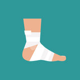 Bandaged leg. Vector Illustration. Illustration of a bandaged foot on a blue background Stock Photos