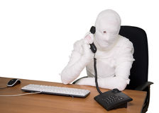 Bandaged man in office Stock Photos