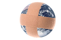 Bandaged Planet Earth Isolated. Isolated macro image bandaged planet earth Stock Image