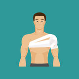 Bandaged shoulder. Vector Illustration Stock Image