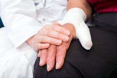 Bandaged thumb Stock Photography