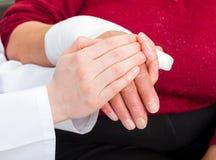 Bandaged thumb Royalty Free Stock Photography