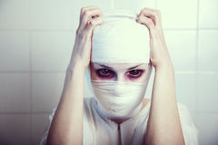 Bandaged victim of genetic experiment Royalty Free Stock Images