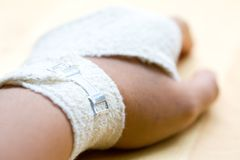 Bandaged wrist close up Royalty Free Stock Photo