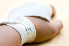 Bandaged wrist close up royalty free stock photo