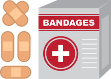 Bandages Box. Isolated bandages box with band aids Royalty Free Stock Photos