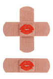 Bandages with kiss royalty free stock photography