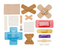 Bandages. Various Badages, Tape and Gauze Isolated on a White Background Royalty Free Stock Photos
