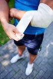 Bandaging elbow joint Stock Photos