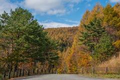 Bandai Azuma地平线在秋天季节的旅行 库存图片