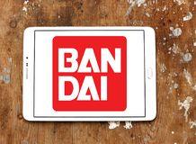 Bandai toy brand logo. Logo of Bandai toy brand on samsung tablet. Bandai is a Japanese toy maker and a producer of a large number of plastic model kits as well royalty free stock image