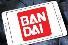 Bandai toy brand logo. Logo of Bandai toy brand on samsung tablet. Bandai is a Japanese toy maker and a producer of a large number of plastic model kits as well stock photography