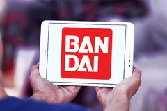 Bandai toy brand logo. Logo of Bandai toy brand on samsung tablet. Bandai is a Japanese toy maker and a producer of a large number of plastic model kits as well royalty free stock images