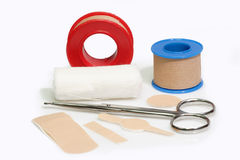 Bandaid. First aid kit and bandageon a bright background Stock Image