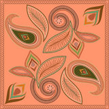 Bandana, γεωμετρικό σχέδιο με το Paisley και λουλούδια Διανυσματικό τετράγωνο τυπωμένων υλών Στοκ φωτογραφία με δικαίωμα ελεύθερης χρήσης