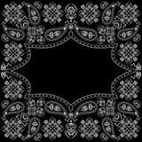 Bandana γραπτό με το Paisley και τα λουλούδια Διανυσματικό τετράγωνο τυπωμένων υλών Στοκ φωτογραφία με δικαίωμα ελεύθερης χρήσης