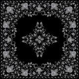 Bandana, γραπτό σχέδιο με τα τριαντάφυλλα Διανυσματικό τετράγωνο τυπωμένων υλών Στοκ Εικόνες