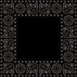 Bandana, γραπτό σχέδιο με το Paisley και λουλούδια Διανυσματικό τετράγωνο τυπωμένων υλών Στοκ Εικόνα