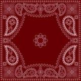 Bandana κόκκινο και άσπρο με το Paisley και τα λουλούδια Διανυσματικό τετράγωνο τυπωμένων υλών Στοκ Εικόνα