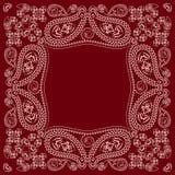 Bandana κόκκινο και άσπρο με το Paisley και τα λουλούδια Διανυσματικό τετράγωνο τυπωμένων υλών Στοκ εικόνες με δικαίωμα ελεύθερης χρήσης