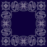Bandana μπλε και άσπρο με το Paisley και τα λουλούδια Διανυσματικό τετράγωνο τυπωμένων υλών Στοκ φωτογραφία με δικαίωμα ελεύθερης χρήσης