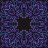 Bandana, φωτεινό μπλε χειμερινό σχέδιο Διανυσματικό τετράγωνο τυπωμένων υλών Στοκ Εικόνες