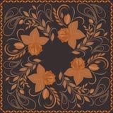 Bandana, φωτεινό σχέδιο με τα τριαντάφυλλα Διανυσματικό τετράγωνο τυπωμένων υλών Στοκ εικόνες με δικαίωμα ελεύθερης χρήσης
