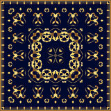 Bandana с картиной золота на голубой предпосылке Стоковые Фото