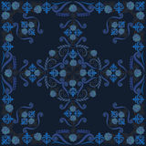 Bandana, black and blue pattern with roses . Vector print square. Stock Images