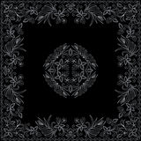 Bandana black and white with berries . Vector print square. Stock Image