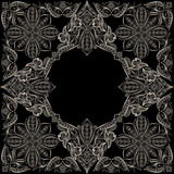 Bandana black and white classy. Traditional ornamental ethnic pattern with paisley and flowers. Decorative print for garment, scarf .Black background royalty free illustration