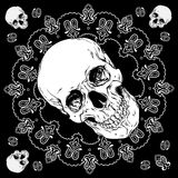 Bandana black and white design with skull and paisley ornament Vector Stock Photography