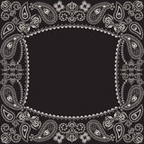 Bandana black and white with paisley and flowers. Vector print square. Stock Photos