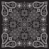 Bandana black and white with paisley and flowers. Vector print square. Royalty Free Stock Image