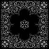 Bandana black and white with paisley and flowers. Vector print square. Royalty Free Stock Photo