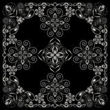 Bandana black and white with paisley and flowers. Vector print square. Stock Photography