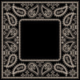 Bandana black and white with paisley and flowers. Vector print square. Royalty Free Stock Photography