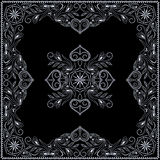 Bandana, black and white pattern with hearts and flowers . Vector print square. Royalty Free Stock Photos