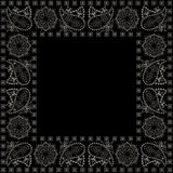 Bandana, black and white pattern with paisley and flowers . Vector print square. Stock Image